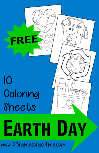 FREE Set of 10 Earth Day Coloring Sheets
