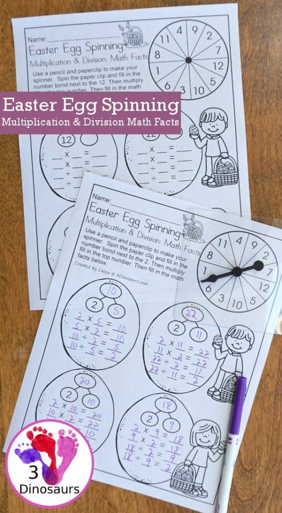 FREE Easter Egg Spinning Math Facts Pages