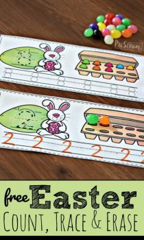FREE Easter Count, Trace, & Erase Strips