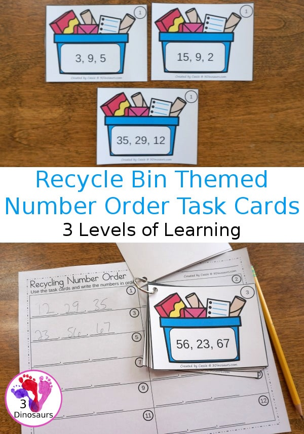FREE Recycling-Themed Number Order Task Cards