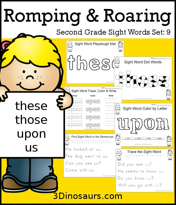 FREE Romping & Roaring 2nd Grade Sight Word Set 9