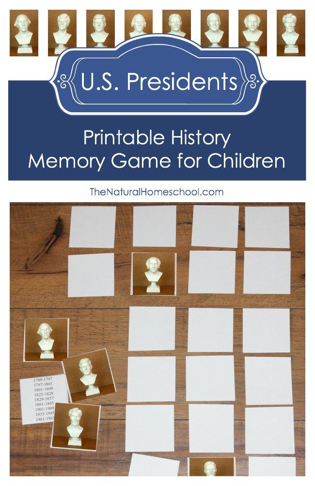 FREE Printable U.S. Presidents Memory Game