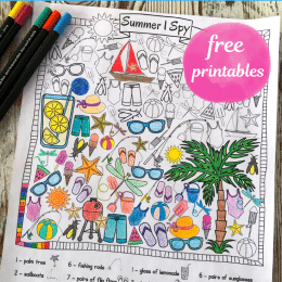 FREE Summer I Spy Coloring Pages