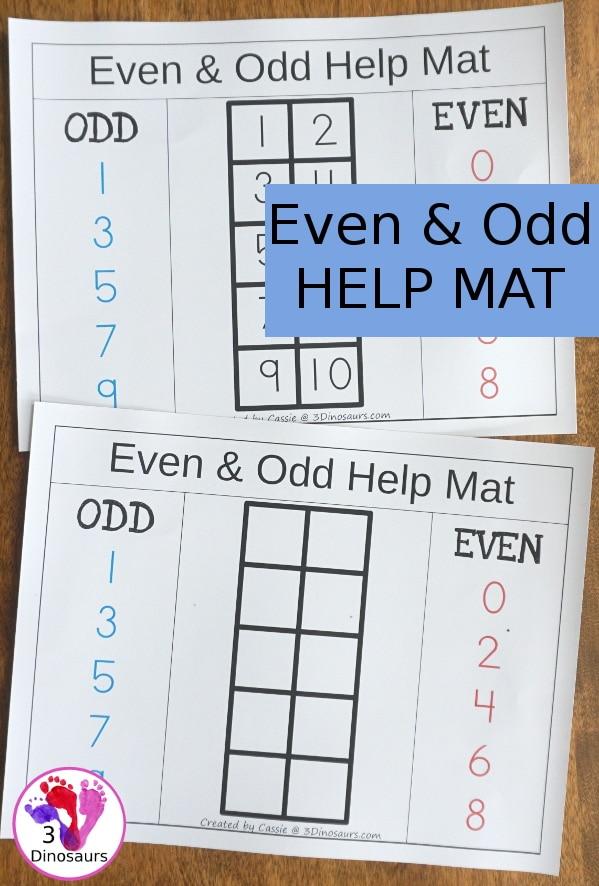 FREE Even & Odd Math Help Mat