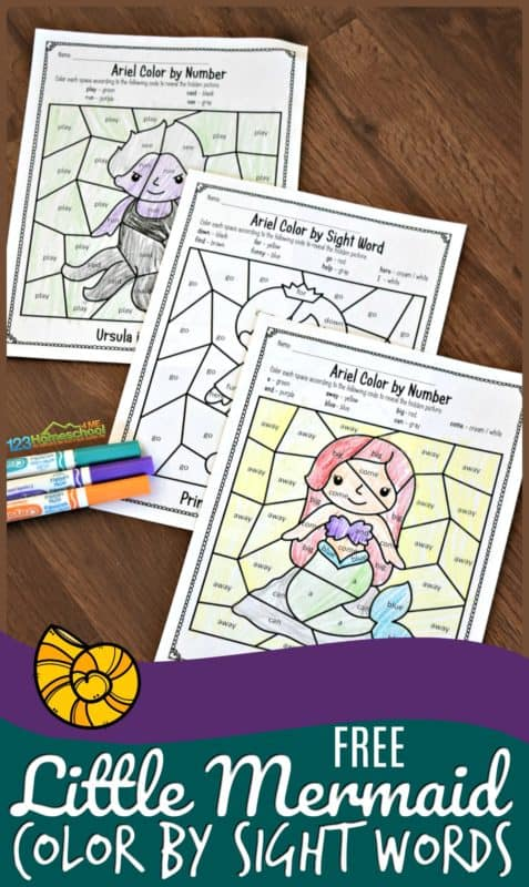 FREE Mermaid Color by Sight Words Pages