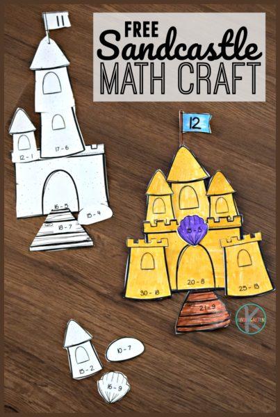 FREE Sandcastle Subtraction Math Craft