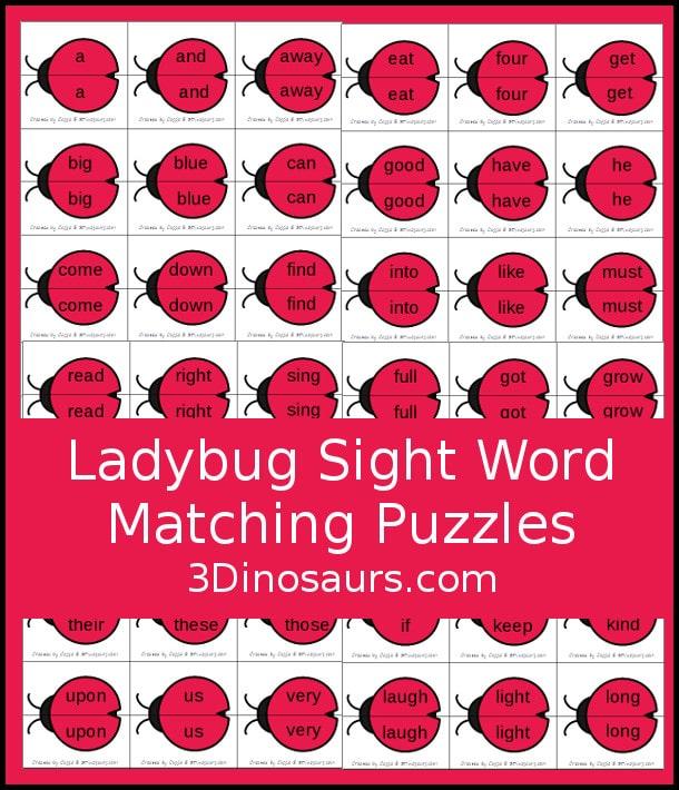FREE Ladybug Sight Word Matching Puzzles