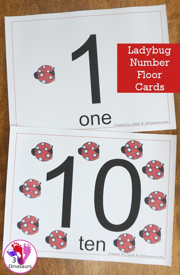 FREE Ladybug Floor Numbers (1-10)