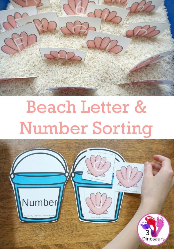 FREE Beach-Themed Number and Letter Sorting Activity