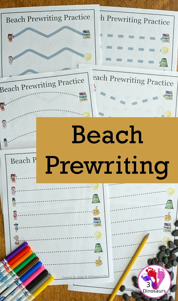 FREE Beach-Themed Prewriting Pages