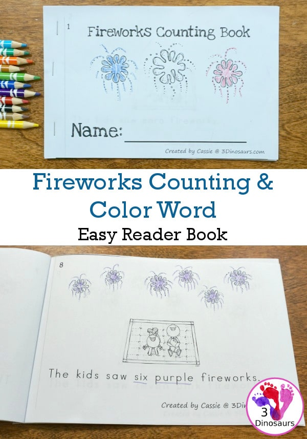 FREE Fireworks Counting & Color Word Easy Reader
