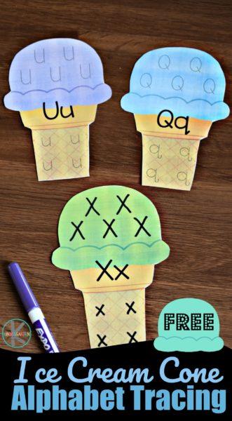 FREE Ice Cream Cone Alphabet Tracing