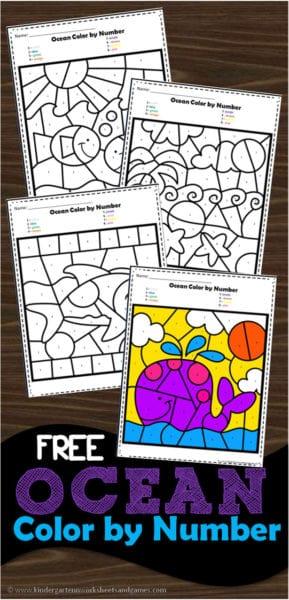 FREE Ocean Color by Number Worksheets