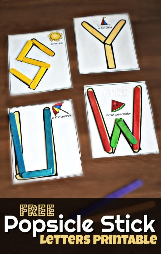 FREE Popsicle Stick Letter Printables