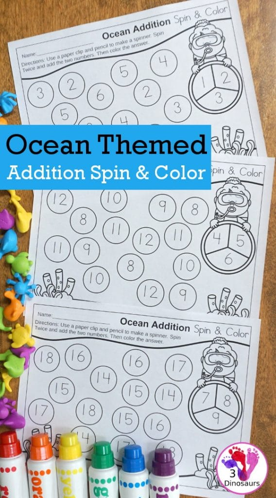 FREE Ocean-Themed Addition Spin & Color Sheets