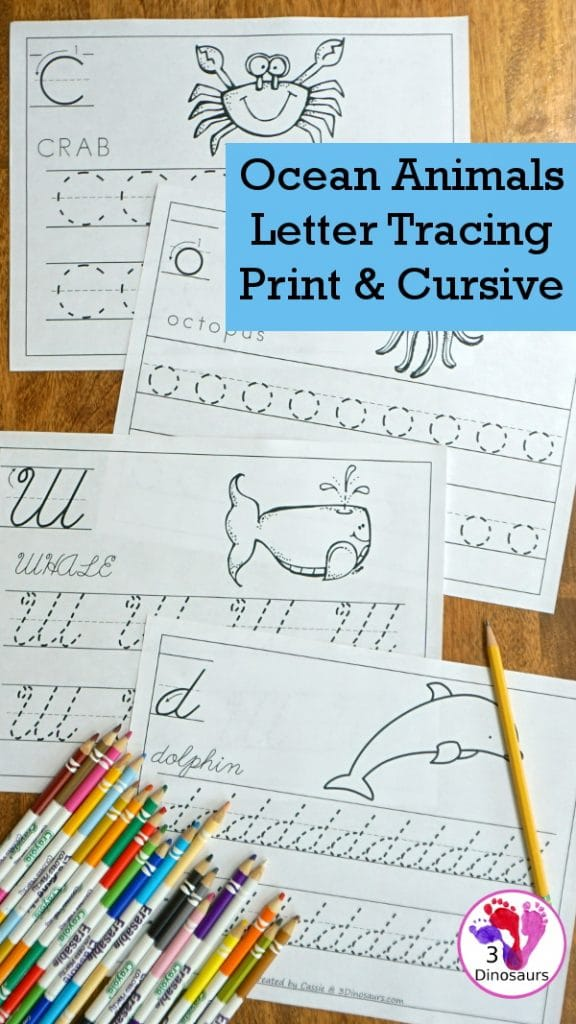 FREE Ocean Animals Letter Tracing Sheets