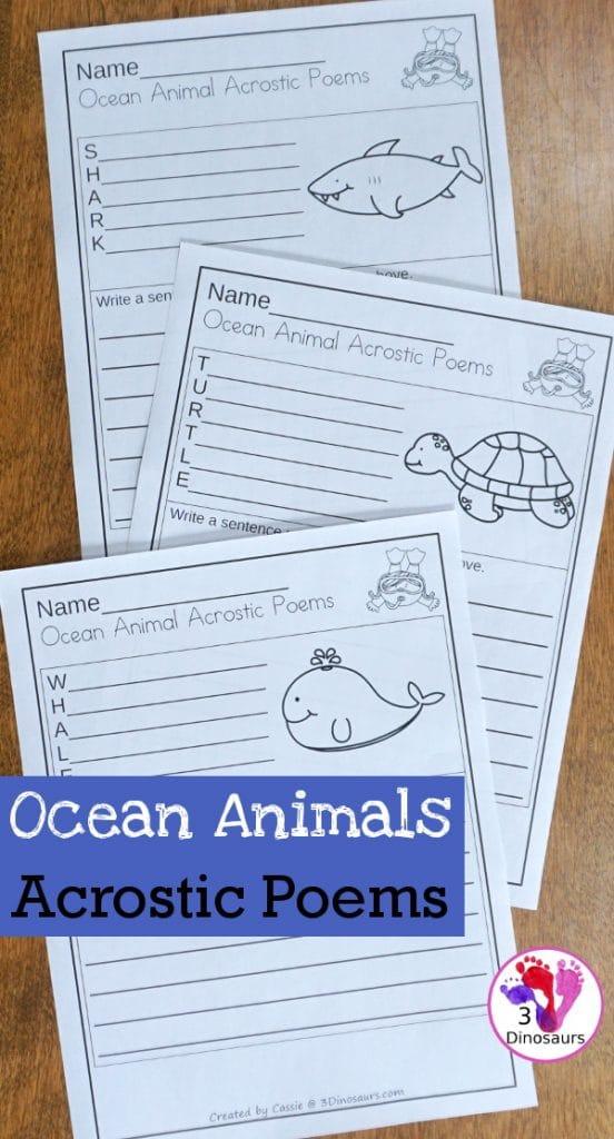 FREE Ocean Animals Acrostic Poems