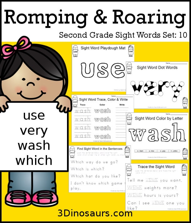 FREE Romping & Roaring 2nd Grade Sight Word Set 10