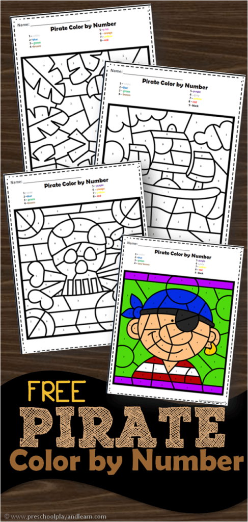 FREE Pirate Color by Number Activity