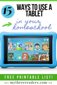 Technology in your homeschool doesn't have to be all bad. Check out this FREE List of 15 Ways to Use a Tablet in Your Homeschool! #freehomeschooldeals #fhdhomeschoolers #homeschoolers #homeschooling