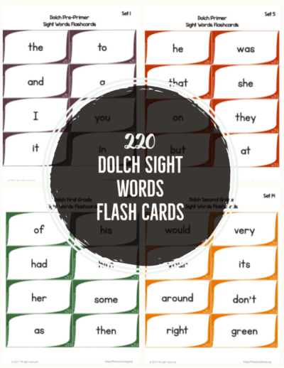 FREE Dolch Sight Words Flash Cards
