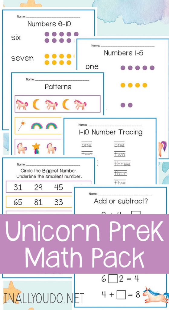 Does your child love unicorns? Then, use unicorn resources as a theme in your homeschool, and check out this Unicorn Pre-K Math Pack! #fhdhomeschoolers #freehomeschooldeals #homeschoollife #homeschooling #homeschoolers