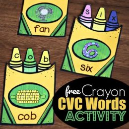FREE Crayon Box CVC Words Activity