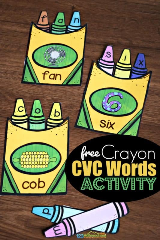 FREE Crayon Box CVC Words Activity