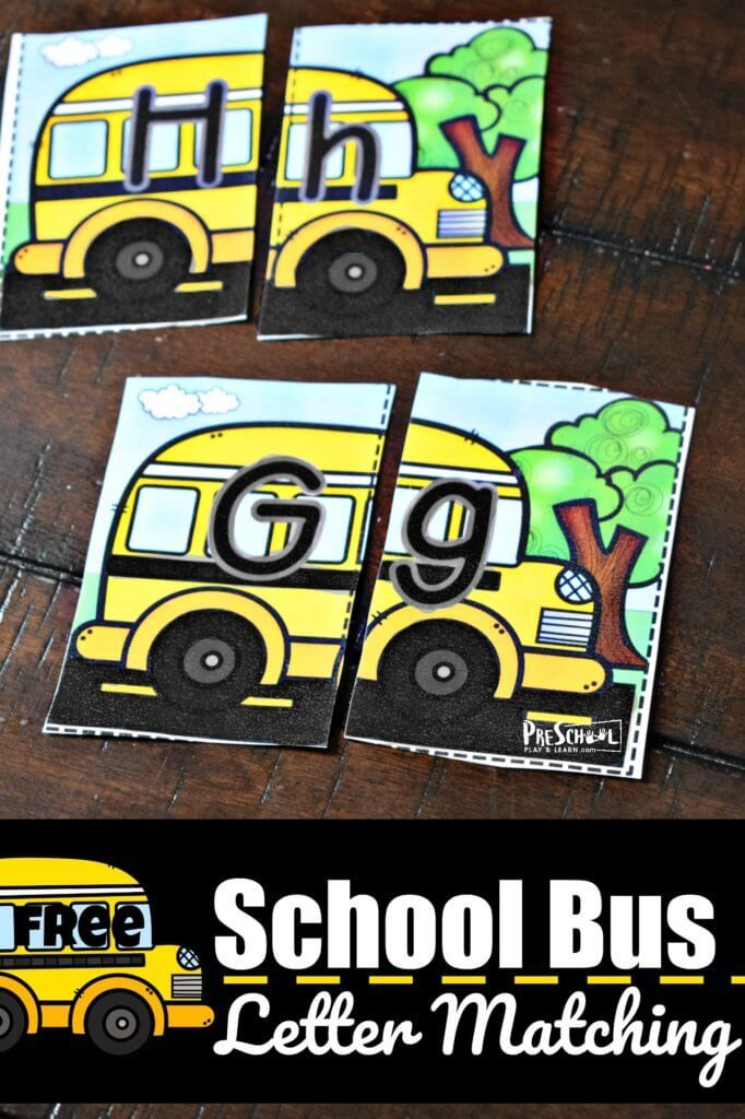 FREE School Bus Letter Matching Cards