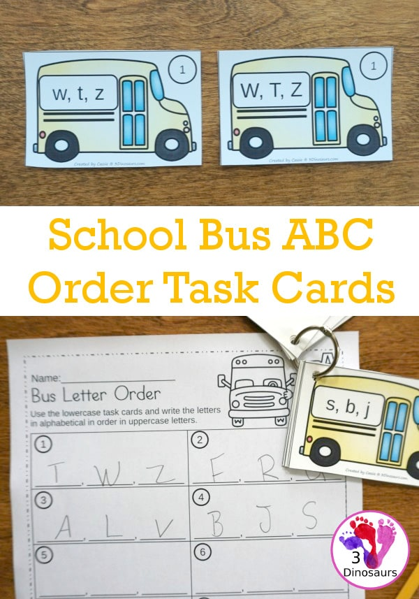 FREE School Bus-Themed ABC Order Task Cards