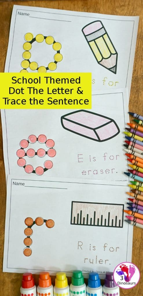 FREE School-Themed Dot the Letter & Trace the Sentence