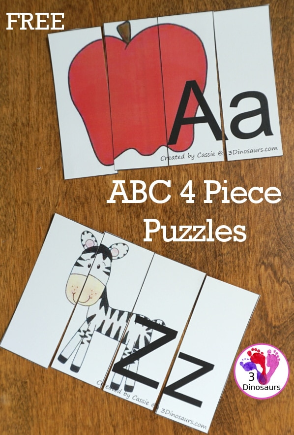 Looking for a fine motor activity? Check out these FREE 4-Piece ABC Puzzles! #fhdhomeschoolers #freehomeschooldeals #fallresources #preschool #finemotorskills