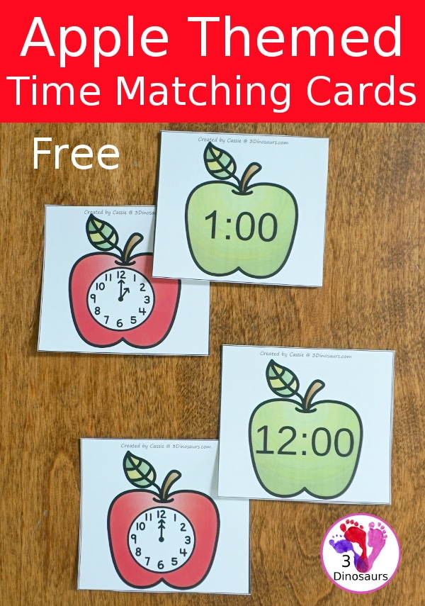 Teaching Time doesn't have to be scary with these FREE Apple Time Matching Cards! #fhdhomeschoolers #freehomeschooldeals #hsfreebies #tellingtime #homeschoolers