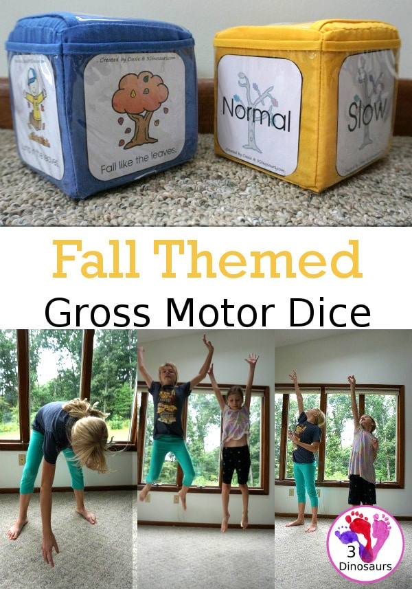 Add to your child's physical education with these FREE Fall-Themed Gross Motor Dice! #fhdhomeschoolers #freehomeschooldeals #hsfreebies #grossmotordice #homeschoolmoms