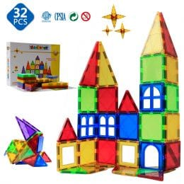 Do your kids love to build and be creative? Give them a new way to build with these 3D Magnetic tiles! Save 50% on the 32-piece set now! #amazondeals #preschoolers #fhdhomeschoolers #freehomeschooldeals
