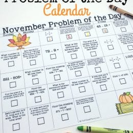 Fill your month with math with this FREE November Math Problem of the Day Calendar! #fhdhomeschoolers #freehomeschooldeals #homeschoolmath #problemoftheday #hsmoms