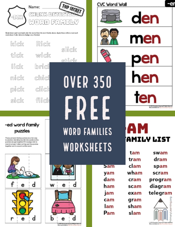 Do your kids struggle with rhyming words? Use these FREE Word Families Worksheets to help them master rhyming words and more! #reading #wordfamily #freehomeschooldeals #fhdhomeschoolers
