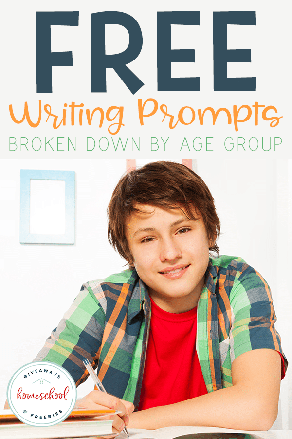 Do your kids struggle with creative writing? Use these FREE writing prompts to get their creativity started! They're even divided up by age group for easy reference! #freehomeschooldeals #fhdhomeschoolers #writingprompts #homeschoolers