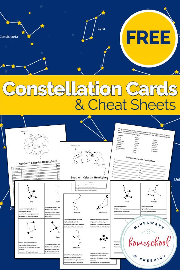 Do your kids love gazing into the night sky? Now they can look up and recognize the constellations with these FREE cards and cheat sheets. #science #constellations #freehomeschooldeals #fhdhomeschoolers