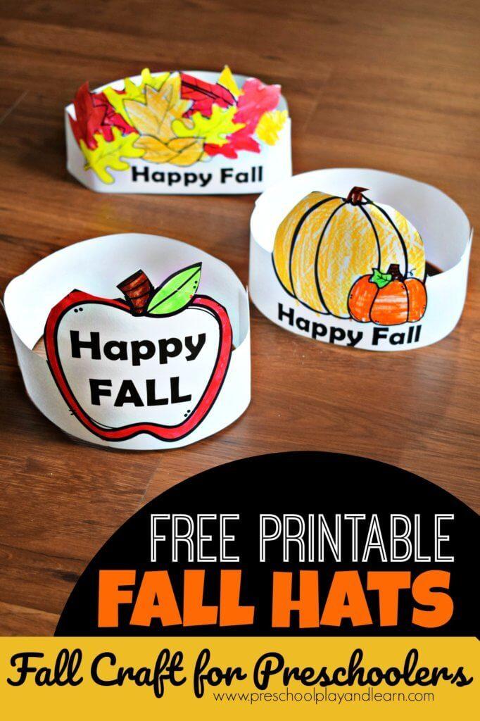 Get creative with these FREE Fall Hats for Preschoolers! #fhdhomeschoolers #freehomeschooldeals #fallresources #preschoolers #homeschoolinglife