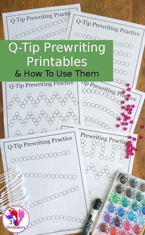 Practice fine motor skills with these FREE Q-Tips Prewriting Printables! #fhdhomeschoolers #freehomeschooldeals #prewriting #hsdays #homeschoolmoms