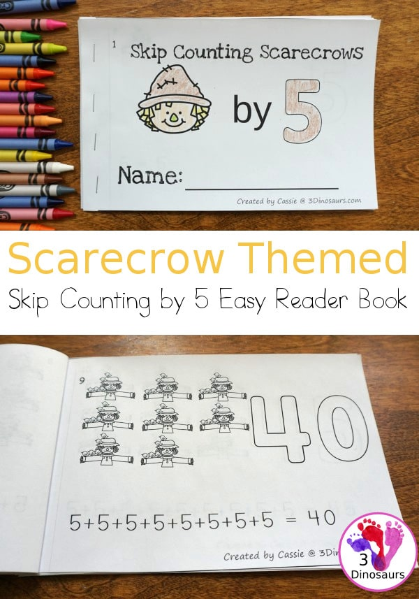 You'll love this FREE Scarecrow Skip Counting by 5's Easy Reader! #fhdhomeschoolers #freehomeschooldeals #fallresources #easyreaders #hsfreebies