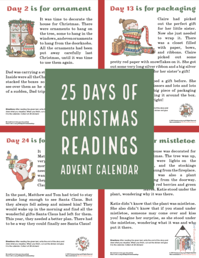 Practice stories with your kids with this FREE Christmas Readings Advent Calendar! #fhdhomeschoolers #freehomeschooldeals #advent #hsmoms #homeschoolfamily