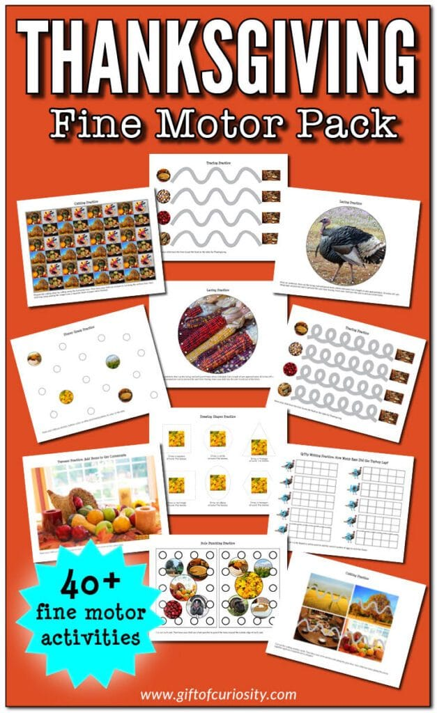For fine motor experience with a holiday twist, check out this FREE Thanksgiving Fine Motor Pack! #fhdhomeschoolers #freehomeschooldeals #hsmoms #finemotorskills #thanksgiving