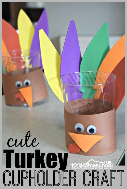 Add a little decor to your Thanksgiving table with this FREE Turkey Cupholder Craft! #fhdhomeschoolers #freehomeschooldeals #thanksgiving #homeschoolcrafts #hsmoms