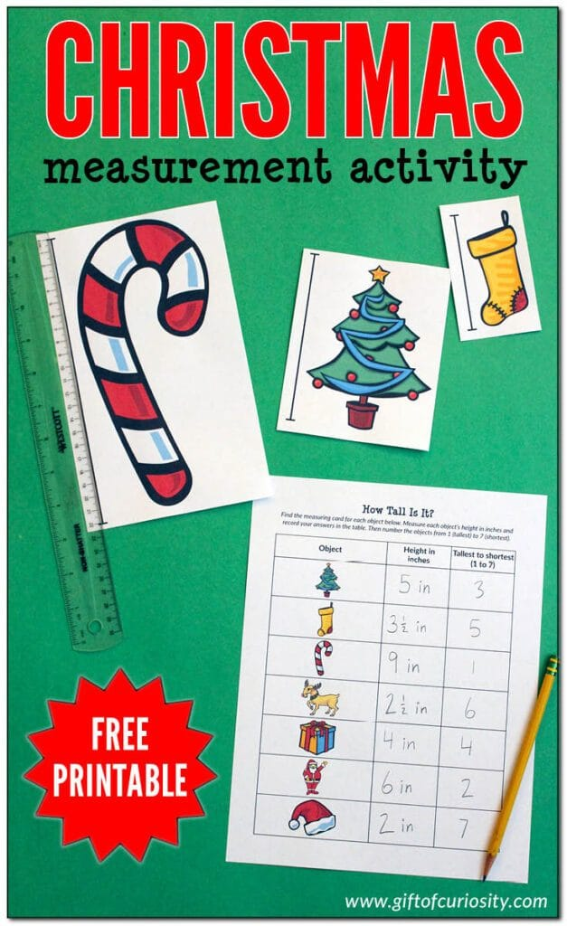 A FREE Christmas measurement activity for holiday learning.   #measurementactivity #holidaymath #measurement #fhdhomeschoolers #freehomeschooldeals