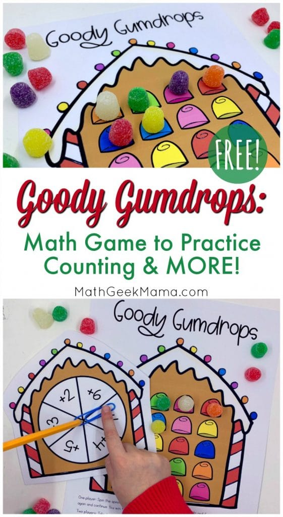 For a little holiday math fun, check out this FREE Goody Gumdrops Counting Game! #fhdhomeschoolers #freehomeschooldeals #hsmoms #holidaymath #christmas