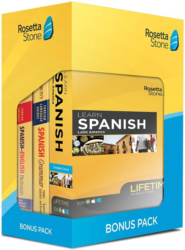 Learning Spanish doesn't have to be hard or expensive. Right now you can get the Rosetta Stone Bonus Pack Bundle for 38% Off! #spanish #foreignlanguage #fhdhomeschoolers #freehomeschooldeals