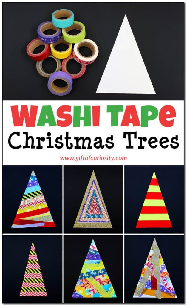 No-mess Washi Tape Christmas trees crafts rock! And now you can make your own! #nomesscraft #nomessChristmas #WashitapeChristmasTrees