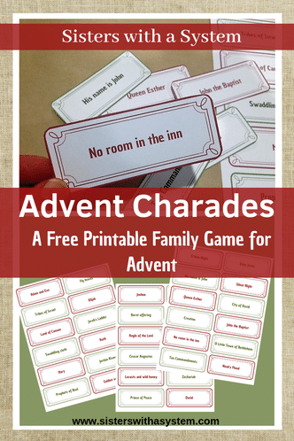 For holiday family fun, get this FREE Advent Charades Game! #fhdhomeschoolers #freehomeschooldeals #advent #homeschoolfamily #holidaygames